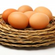 Braided plates with eggs — Stock Photo