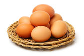 Heap of chicken eggs — Stock Photo