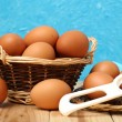 Whole eggs on a table — Stock Photo