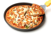 Pizza in pan — Stock Photo