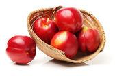 Nectarines in basket — Stock Photo