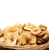 Basket of banana chips — Stock Photo