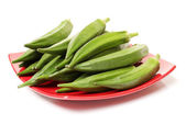 Fresh okra in plate — Stock Photo