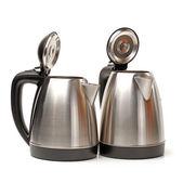 Silver steel kettles — Stock Photo