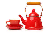 Red tea kettle — Stock Photo
