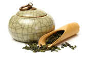 Tea canister with scoop — Stock Photo