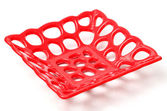 Red plastic tray — Stock Photo