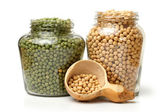 Bottles of soybeans — Stock Photo
