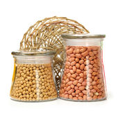 Gold soybeans and peanuts — Stock Photo