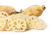 Chopping Lotus root — Stock Photo