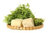 Tofu and crown daisy — Stock Photo