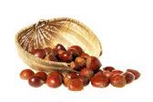 Chestnuts in basket — Stock Photo