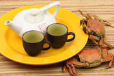 Tea set with crabs — Stock Photo