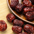 Red dates in plate — Stock Photo