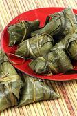 Dumpling in red bowl — Stock Photo