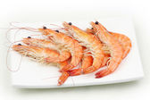 Shrimps in plate — Stock Photo