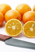 Oranges with knife — Foto de Stock
