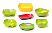 Plastic empty bowls — Stock Photo