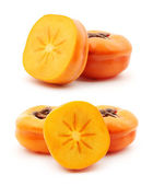 Persimmons with halves — Stock Photo