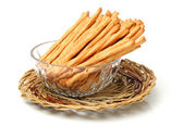 Plates of Bread sticks — Stock Photo