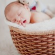 Cute little baby in a basket. — Stock Photo