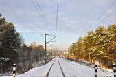 Winter railroad line — Stock Photo