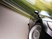 Incrível vista lateral do sedan preto — Foto Stock