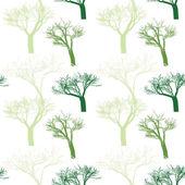 Nahtlose muster mit zufällig angeordnete bäume — Stockvektor