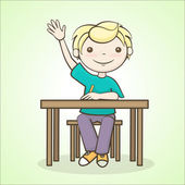 Student raised his hand — Stock Vector