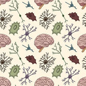 Seamless pattern of the neurons — Stock Vector
