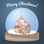 Snow globe with a house — Stock Vector