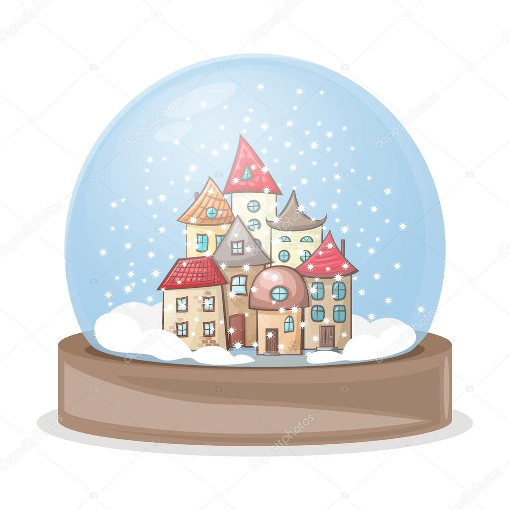 House Snow Globe Snow Globe Snow-covered Town