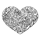 Black and white heart — Stock Vector
