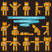 Flat robots — Stockvektor