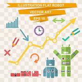 Flat robots — 图库矢量图片