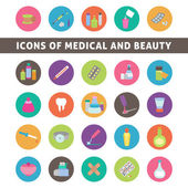 Flat icons for medicine and beauty — Stock Vector