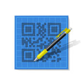 Sketch QR-code — Stock Vector