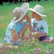 Boy and Girls with Wildflowers — Stock Photo