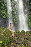 Woman Waterfall — Stock Photo