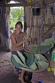 Village Woman Preparing Food — Stock Photo