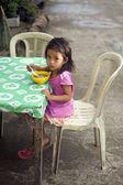 Girl Eating Breakfast — Stock Photo