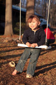 Three Year Old Girl on a Swing — Stock Photo