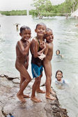 Three Filipino Boys Swimming — Stock Photo