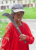 Philippines - Woman Smoking Cigarette — Stock Photo