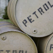 Stock Photo: Few barrels of war time petroleum