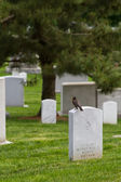 Tombstones in a nearby cemetery mark the passage of life. — Stock Photo