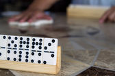 Dominoes on a table — Stock Photo