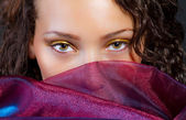 Hispanic attractive model with a silk scarf — Stock Photo