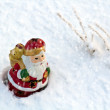 Stock Photo: Christmas decoration with SantClaus in sow