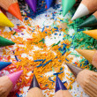 Stock Photo: Colorful sharpened pencils and shavings